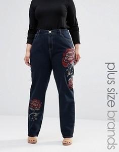 Oversize-джинсы скинни с вышитыми розами Alice & You - Темно-синий