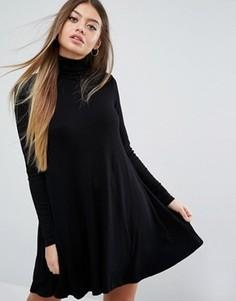Свободное платье в рубчик с воротником поло и длинными рукавами ASOS - Черный