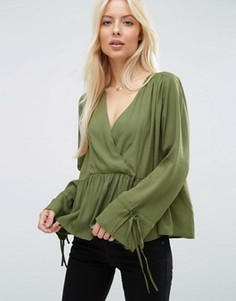 Oversize-блузка асимметричной длины с запахом ASOS - Зеленый