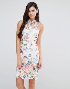 Платье с высокой горловиной из цветочного кружева Lipstick Boutique - Мульти