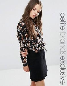Блузка с цветочным принтом и узлом спереди Fashion Union Petite Betty - Мульти