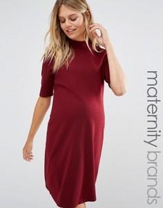 Платье мини для беременных с высокой горловиной New Look Maternity - Красный
