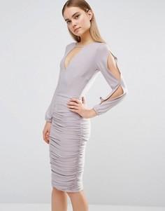 Присборенное платье с разрезами на длинных рукавах AX Paris - Серый