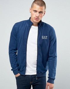 Трикотажная куртка на молнии Emporio Armani EA7 - Синий