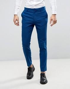 Синие фактурные брюки скинни ASOS WEDDING - Синий