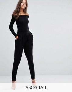 Комбинезон с длинными рукавами и широкими брюками со складками ASOS TALL - Черный