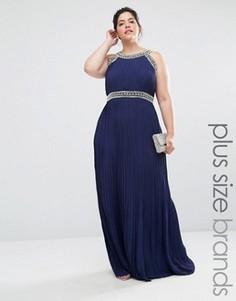 Платье макси с декоративной отделкой TFNC Plus Wedding - Темно-синий