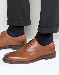 Светло-коричневые кожаные туфли со вставкой на носке Selected Marc - Коричневый