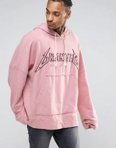 Свободное худи с удлиненными рукавами Granted - Розовый