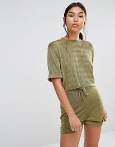 Укороченная футболка Boohoo Co Ord - Зеленый