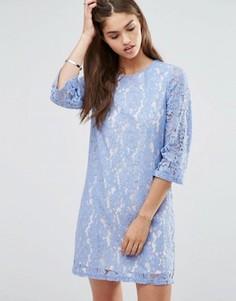 Цельнокройное кружевной платье с рукавами 3/4 Darling - Фиолетовый