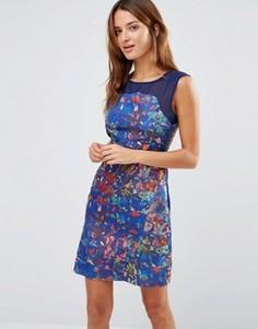 Платье с поясом, сетчатой кокеткой и цветочным принтом Lavand - Синий