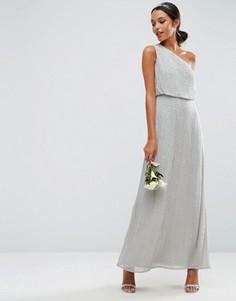 Платье макси на одно плечо с отделкой ASOS WEDDING - Серый