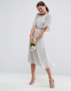 Платье миди с рукавами-бабочка и отделкой ASOS WEDDING - Серый