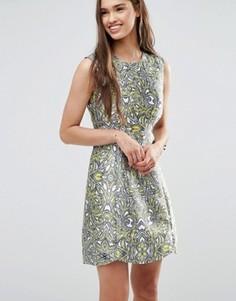 Короткое приталенное платье цвета металлик Darling - Желтый
