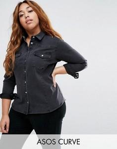 Черная джинсовая рубашка в стиле вестерн ASOS CURVE - Черный