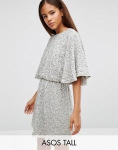 Короткое платье-кимоно с пайетками ASOS TALL - Зеленый
