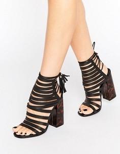 Черные сандалии на блочном каблуке с черепаховой отделкой Missguided - Черный