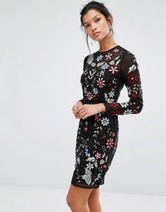 Платье мини с вышивкой и бисером Frock and Frill - Мульти
