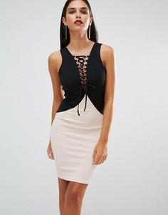 Платье со шнуровкой спереди AX Paris - Черный