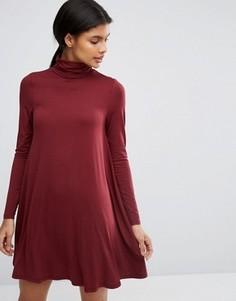 Свободное платье с воротником поло и длинными рукавами ASOS - Красный