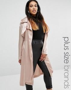 Атласный тренч Missguided Plus - Фиолетовый