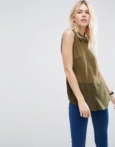 Блузка без рукавов с полупрозрачным низом ASOS - Зеленый