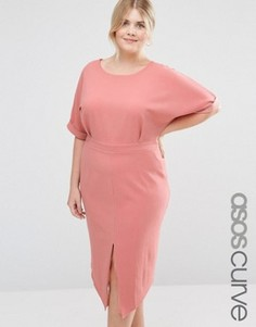 Платье с разрезом спереди ASOS CURVE - Оранжевый