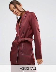 Пижамный жакет в полоску с окантовкой ASOS TALL - Красный