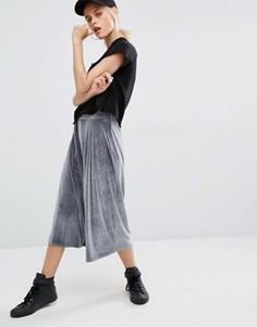 Бархатная юбка-брюки Boohoo - Серый