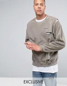 Oversize-свитшот с рваной отделкой Reclaimed Vintage - Серый