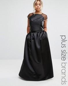 Юбка макси из сатина Chi Chi London Plus - Черный