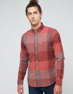 Бордовая рубашка узкого кроя из поплина в крупную клетку Hollister - Красный