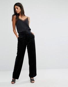 Бархатные брюки с широкими штанинами Vila - Черный