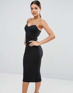 Облегающее платье миди на бретельках ASOS - Черный
