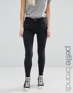 Облегающие джинсы с отделкой молниями New Look Petite - Черный