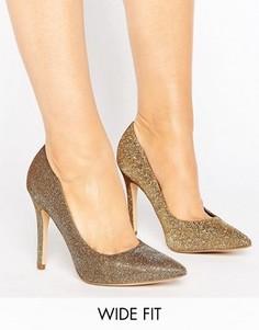 Туфли-лодочки с блестками и острым носком New Look - Золотой