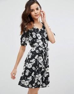 Чайное платье с розами Poppy Lux Thereasa - Черный