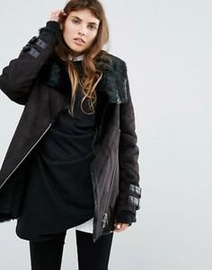Удлиненная байкерская куртка с воротником и подкладкой из искусственного меха Goosecraft - Черный