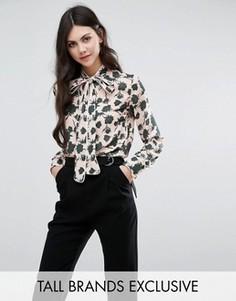 Блузка с цветочным принтом и завязкой на бант Alter Tall - Мульти