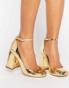 Туфли на высоком блочном каблуке ASOS PARADE - Золотой