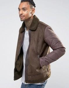 Куртка из искусственной замши с воротником из искусственного меха Criminal Damage - Коричневый
