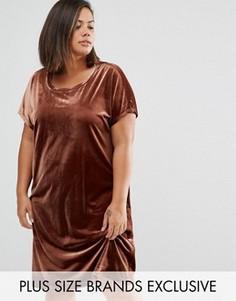 Бархатное цельнокройное платье мини One Day Plus - Коричневый