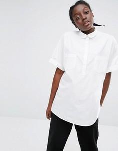 Прямая рубашка с карманами Monki - Белый