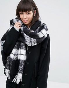 Oversize-шарф в клетку Monki - Черный