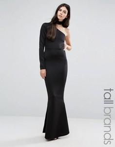 Платье макси на одно плечо с горловиной-чокером Missguided Tall - Черный