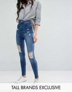 Рваные джинсы скинни Waven Tall Anika - Синий