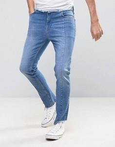 Синие джинсы скинни с завышенной талией и асимметричными краями ASOS - Синий