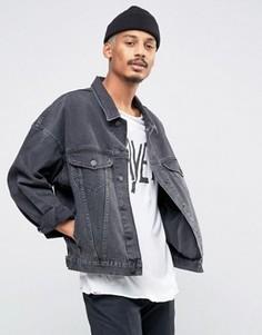 Выбеленная черная джинсовая куртка в стиле oversize ASOS - Черный