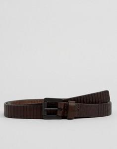 Узкий коричневый кожаный ремень Royal RepubliQ - Коричневый